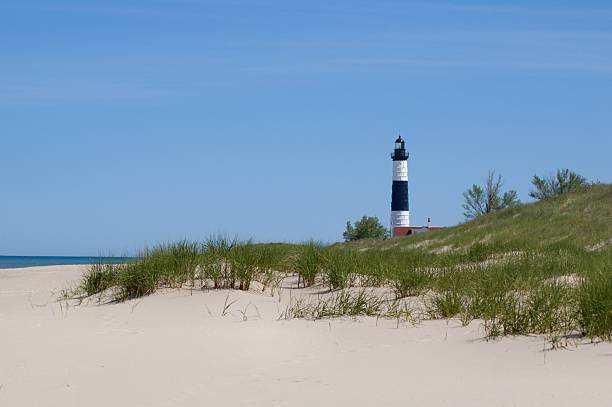 Big Sable Point Lighthouse, Beach and Dunes stock photo