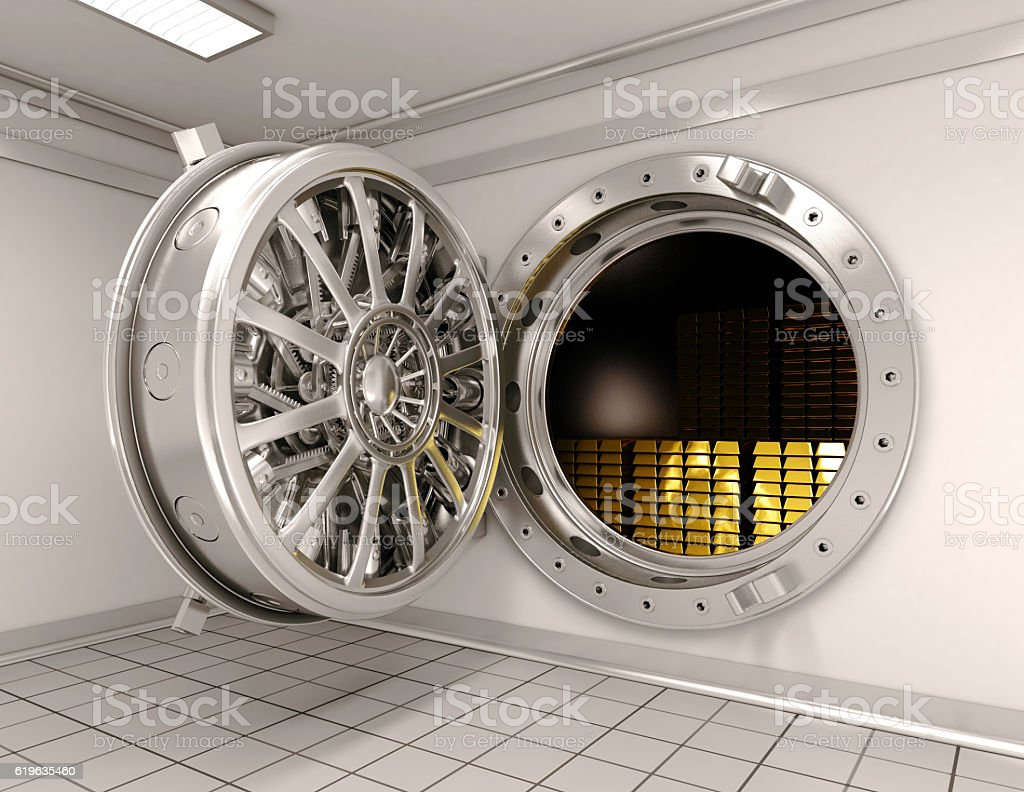 Big safe with gold ingots stock photo