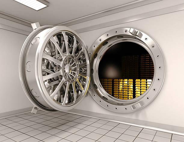 Big safe with gold ingots stock photo