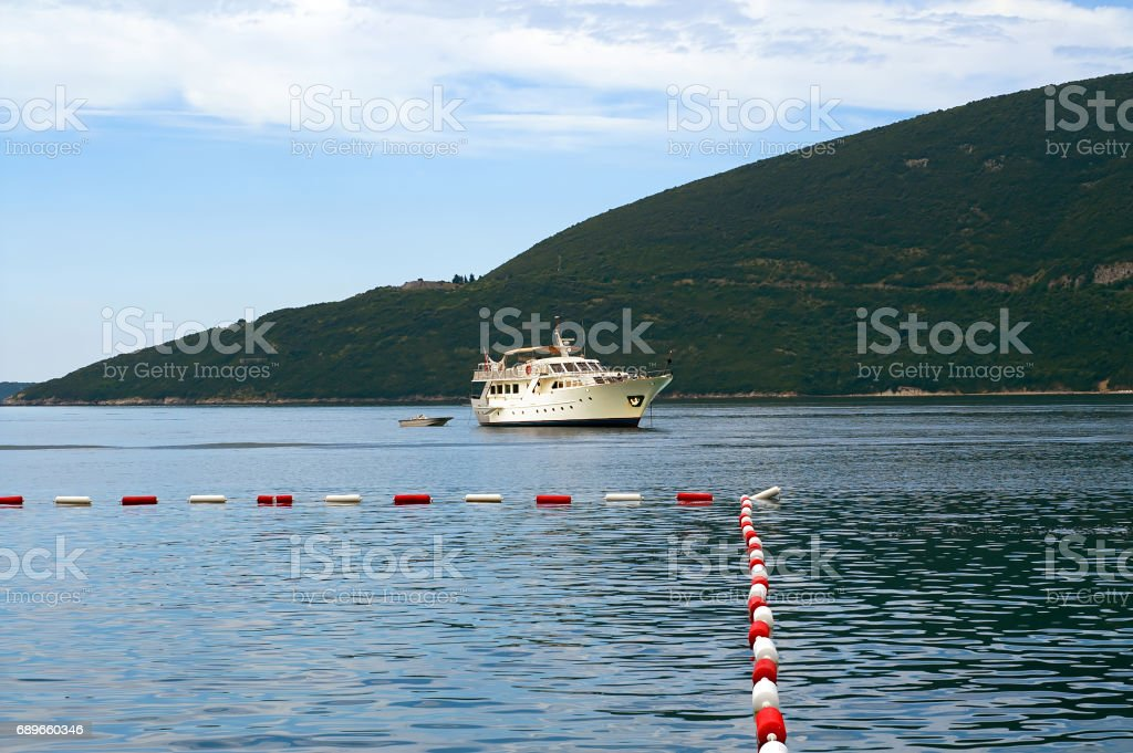 Big sailing ship. Tourist ship in Montenegro stock photo
