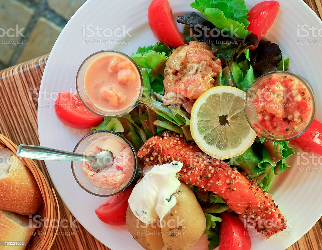 big salad with salmon royalty-free stock photo