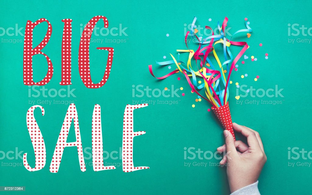 Big sale banner design with colorful confetti streamer. stock photo