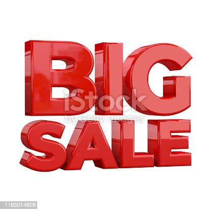 istock Big Sale banner template design, Big sale special promotion. Super Sale, end of season special offer banner. 3D rendering 1165014928