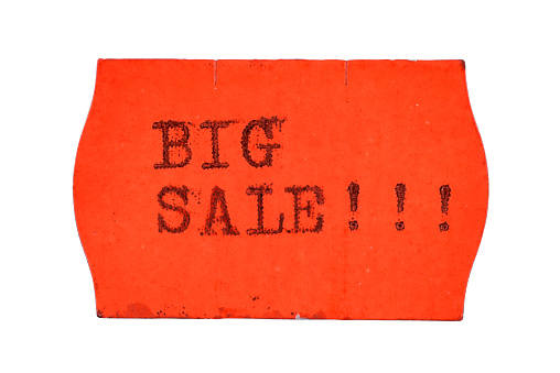 Big sale price tag isolated