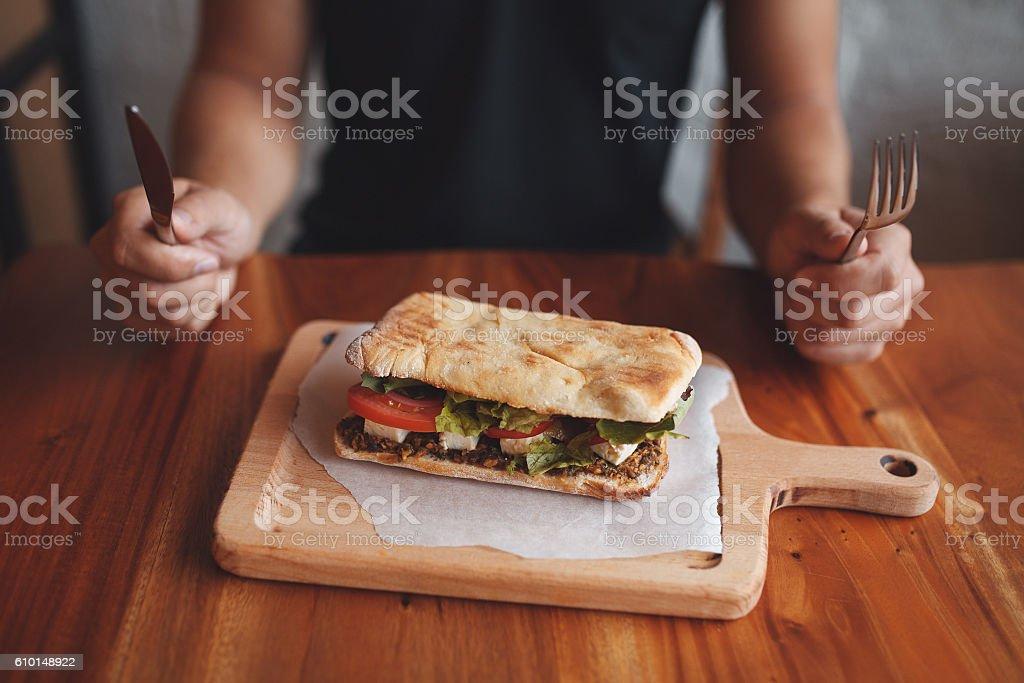 Big sandwich close up stock photo