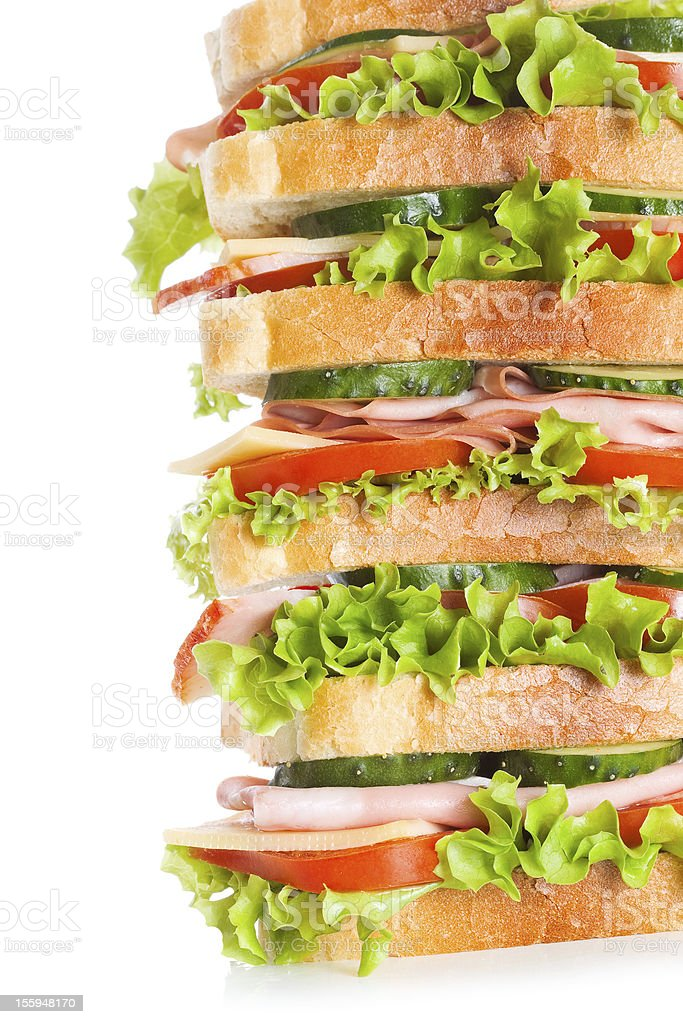 big sandwich with bacon and vegetables royalty-free stock photo