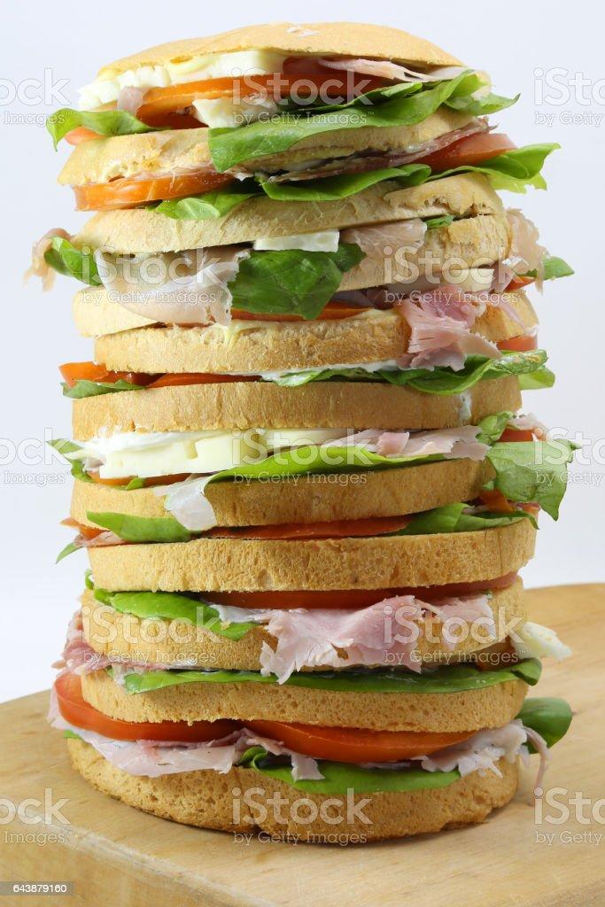 big sandwich with cheese ham tomato stock photo