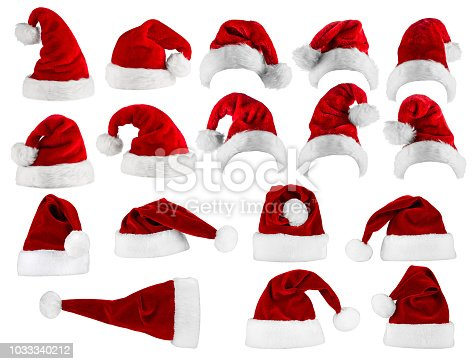 large collection of red white santa hats