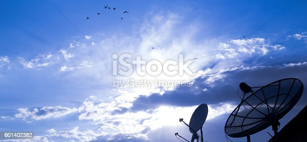 istock Big Satellite Dish on blue sky 601402382