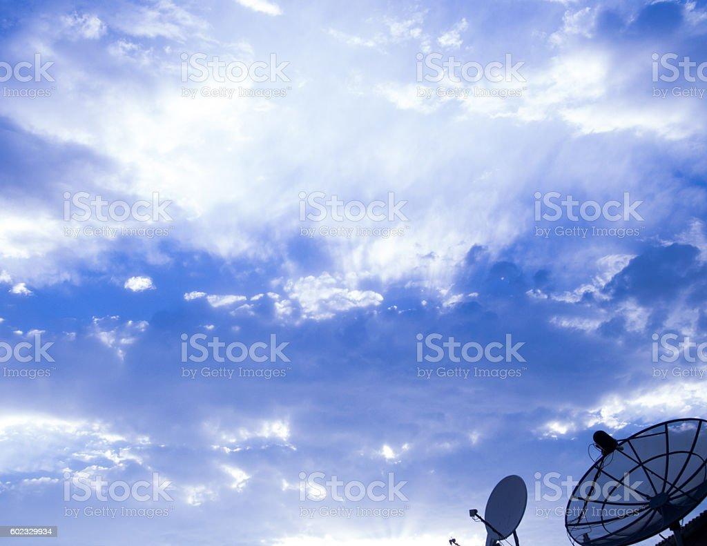 Big Satellite Dish on blue sky stock photo