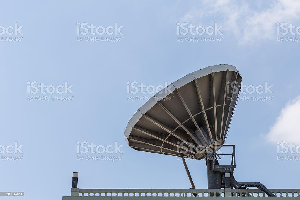 Big satellite dish on the roof stock photo