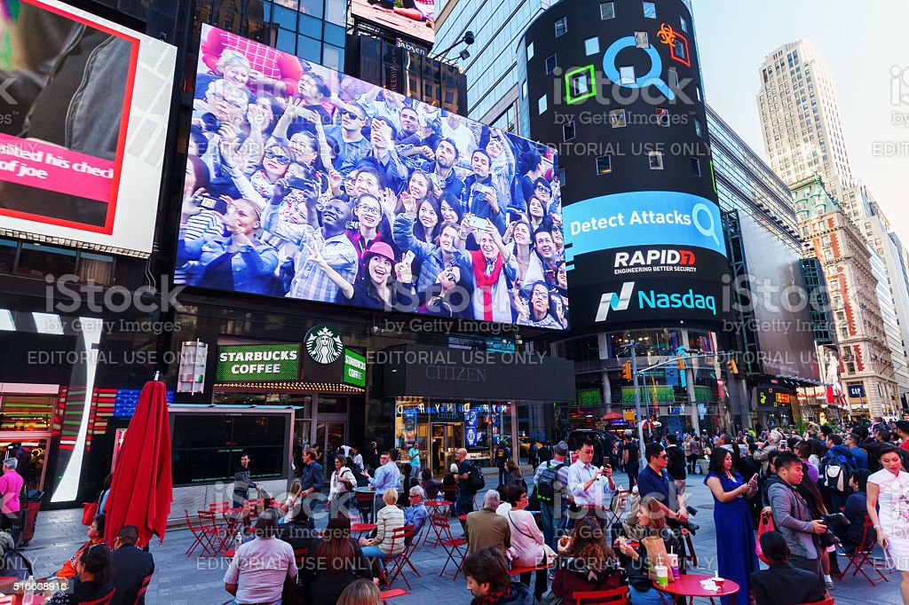 big screen at Times Square, Manhattan, NYC stock photo
