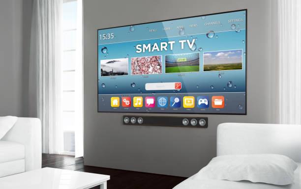 Big screen television smart tv stock photo