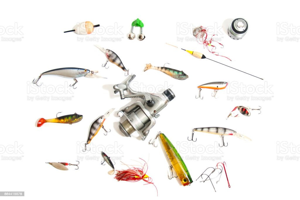Big set fishing tackle, isolated on white. - foto stock