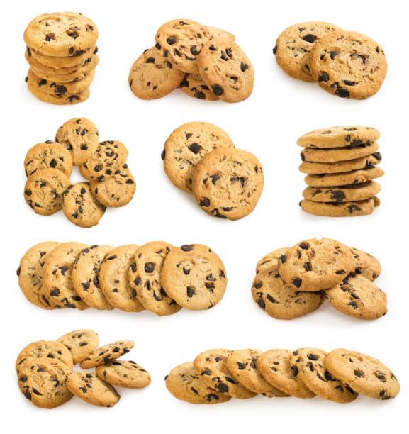 Big set of american chocolate chip cookies  on white Big set of american chocolate chip cookies isolated on white background. Sweet homemade biscuits. chocolate chip cookie stock pictures, royalty-free photos & images
