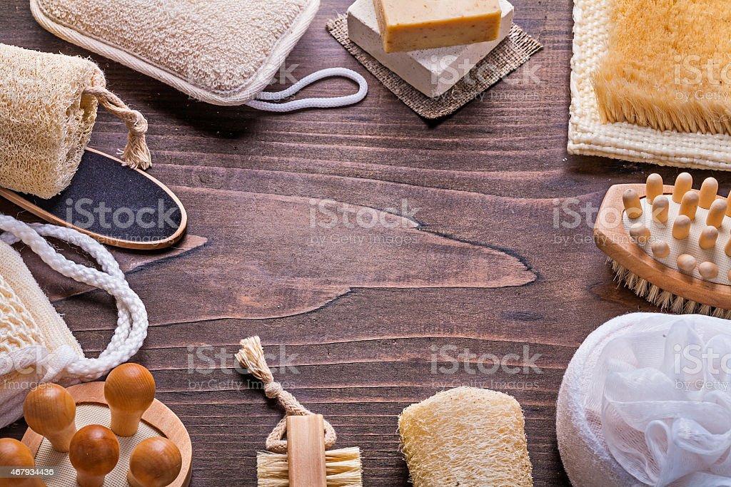 Großen Satz Von Badaccessoires Auf Vintage Holzboard Mit ...