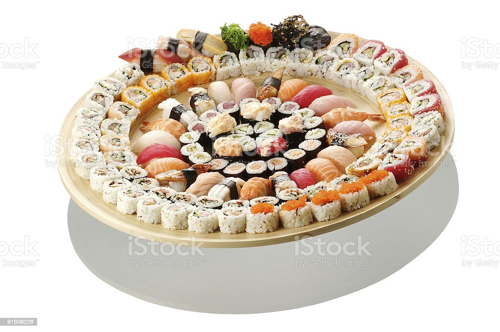 Big set of different sushi and maki royalty-free stock photo