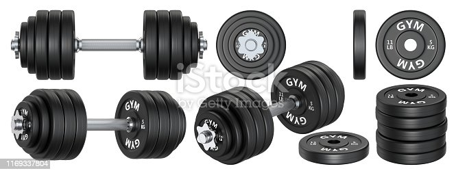 istock Big set of rubber metal Dumbbells. 3d rendering illustration isolated on white background. Gym, fitness and sports equipment symbol. 1169337804
