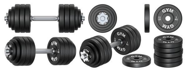 big set of rubber metal dumbbells. 3d rendering illustration isolated on white background. gym, fitness and sports equipment symbol. - icon set healthy foto e immagini stock