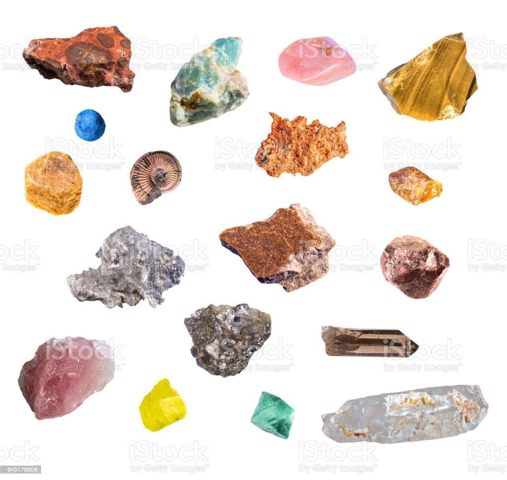 Big set of various valuable isolated minerals including bauxite, apatite, opal, basalt, azurite, copper, corundum, ammonite, amber, gips, garnet, pyrite, quartz, sulfur, fluorite on white background - Photo