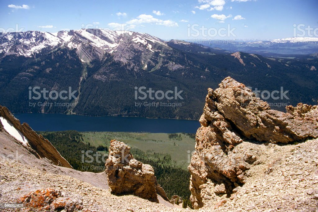 Big Sheep Mountain and Gypsum Peak view across Green River Lake from top of Osborn Mountain Wyoming stock photo