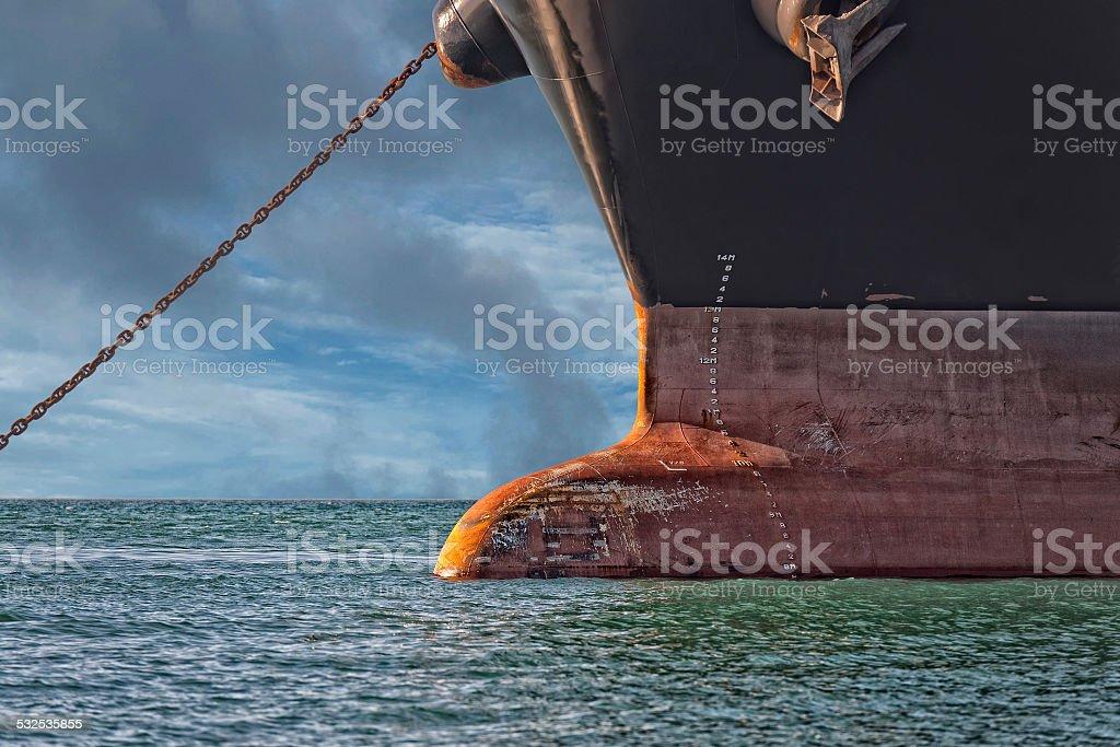 big ship bow close up detail