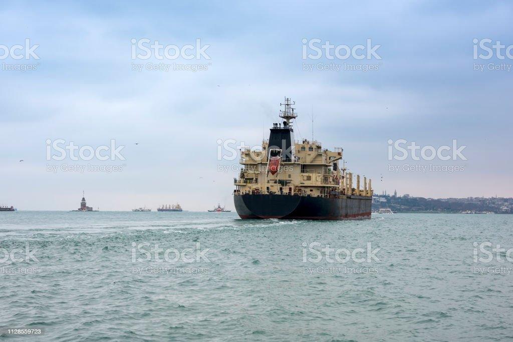 Big ship on Istanbul bosphorus sea