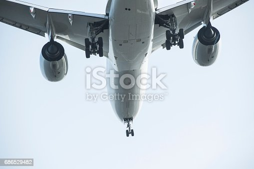 696113714istockphoto big silver passenger plane. 686529482