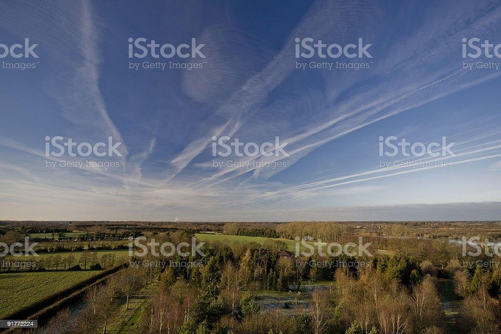 Big skies over flat English landscape, Norfolk UK stock photo