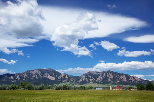 Big Sky and Clouds over Boulder Colorado Farm stock photo