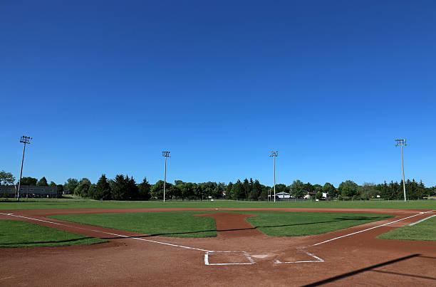 Big Sky Baseball Field A wide angle shot of a baseball field. baseball diamond stock pictures, royalty-free photos & images