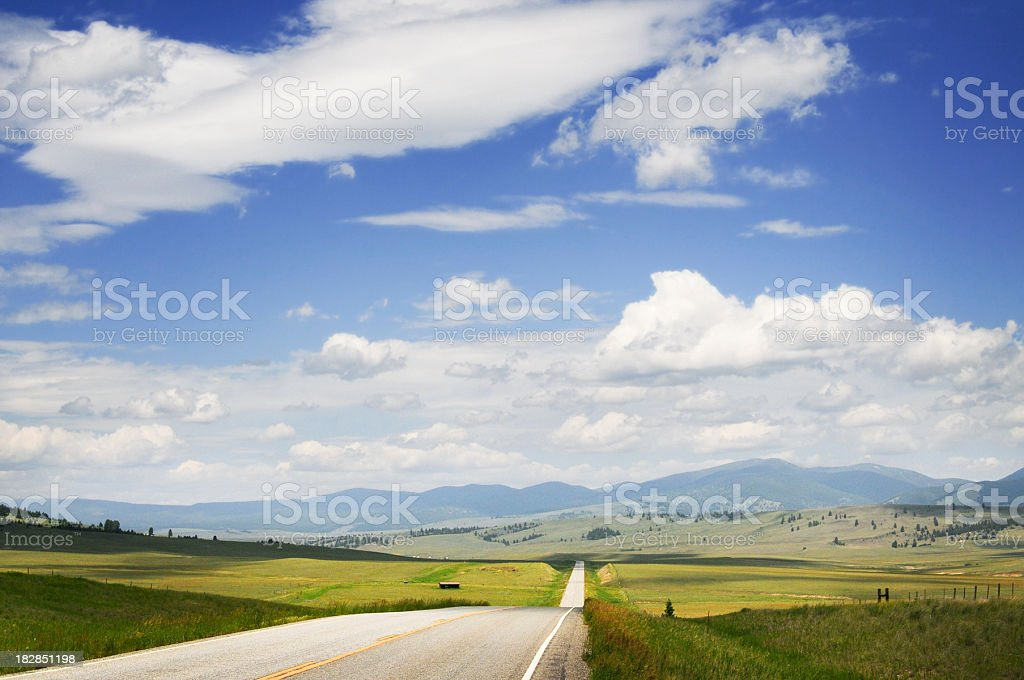 Big Sky, Montana road in summer stock photo