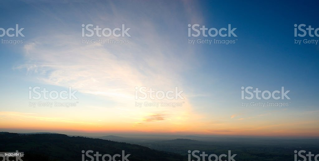 Big sky orange horizon background stock photo