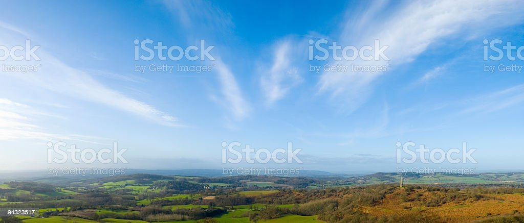 Big sky over rural landscape stock photo
