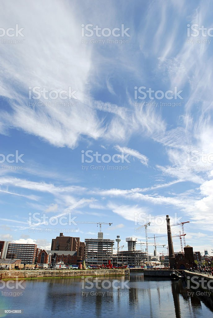 Big sky over wide angle construction site in Liverpool royalty-free stock photo