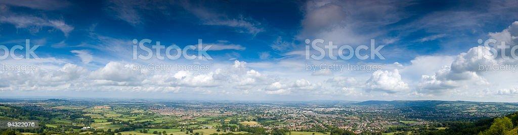 Big sky, town, green fields stock photo