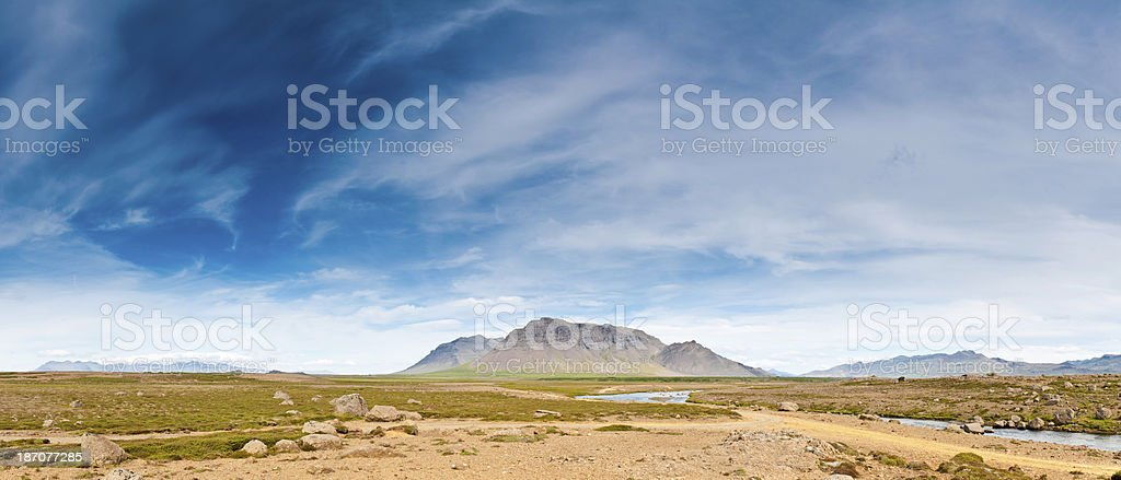 Big sky wilderness landscape panorama remote Arctic mountain valleys Iceland stock photo