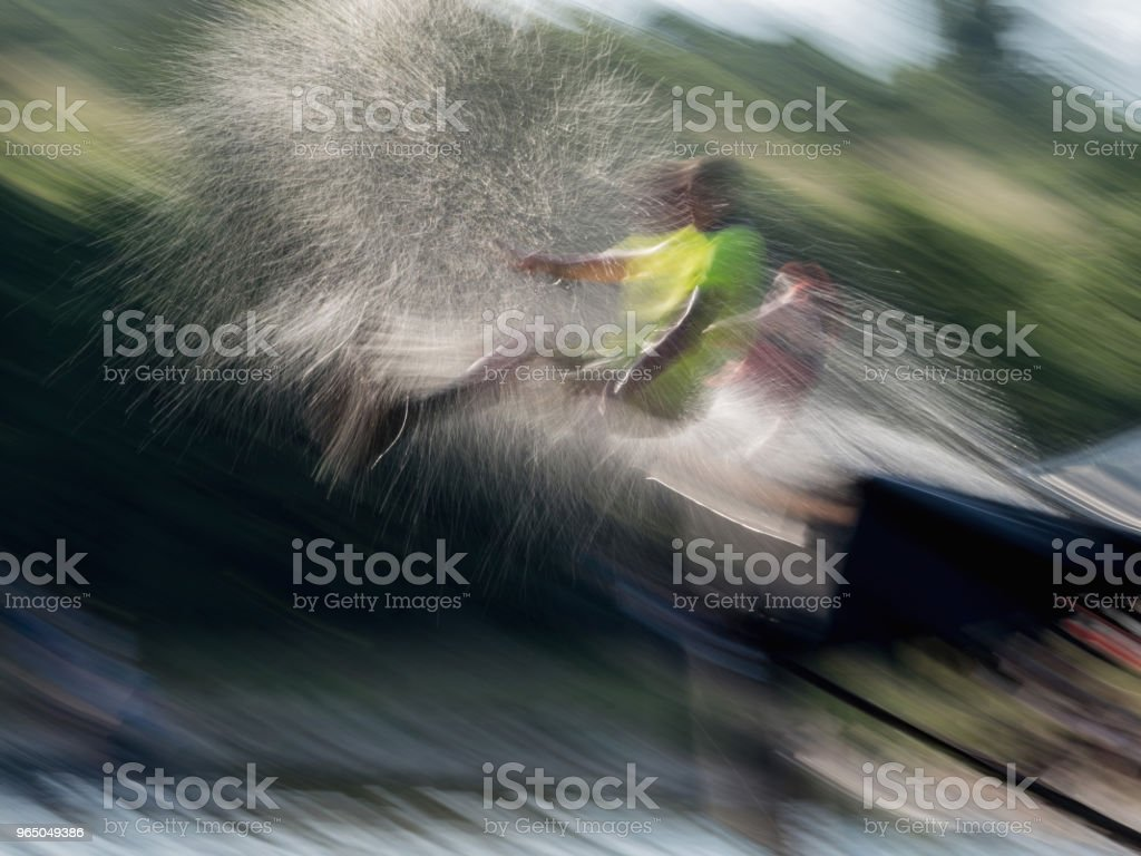 Big slide and jumping man royalty-free stock photo