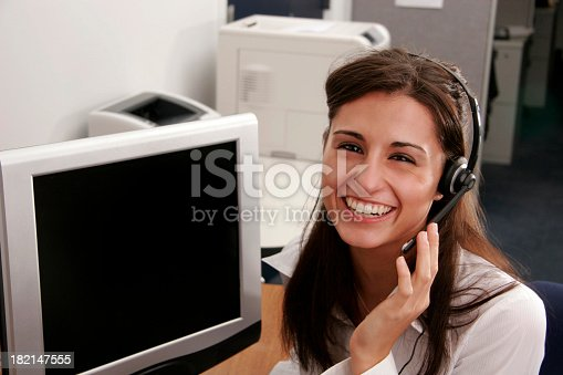 istock Big Smile Operator with Full Screen 182147555