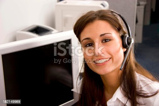 istock Big Smile Operator with Monitor 182149989