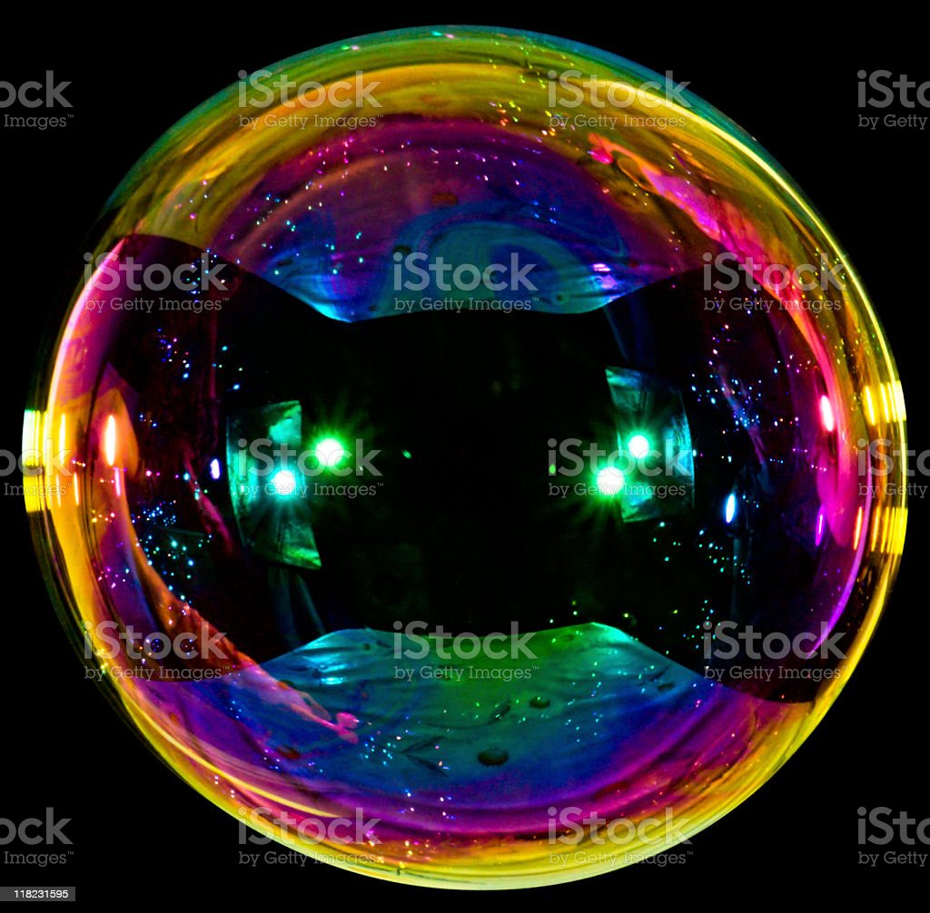 Big soap bubble on black background stock photo