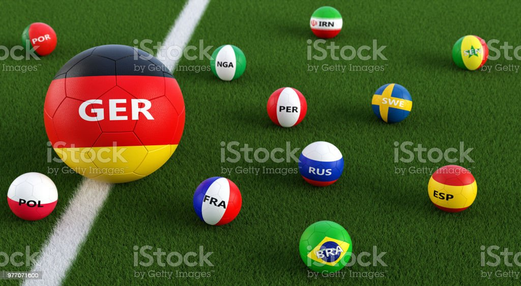 e01f34c50 Big Soccer ball in Germanys national color surrounded by smaller soccer  balls in other national colors. 3D Rendering - Stock image .