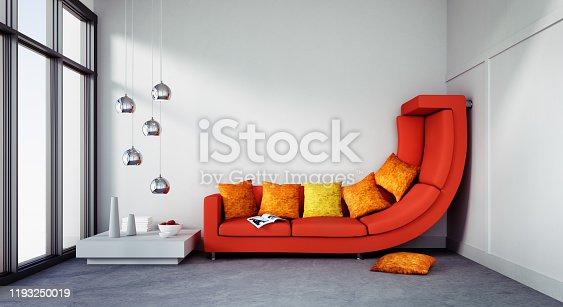 istock Big sofa in too small apartment 1193250019