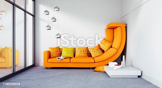 istock Big sofa in too small apartment 1193250028