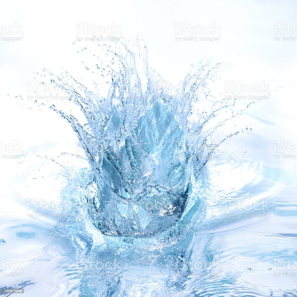Big splash in blue royalty-free stock photo