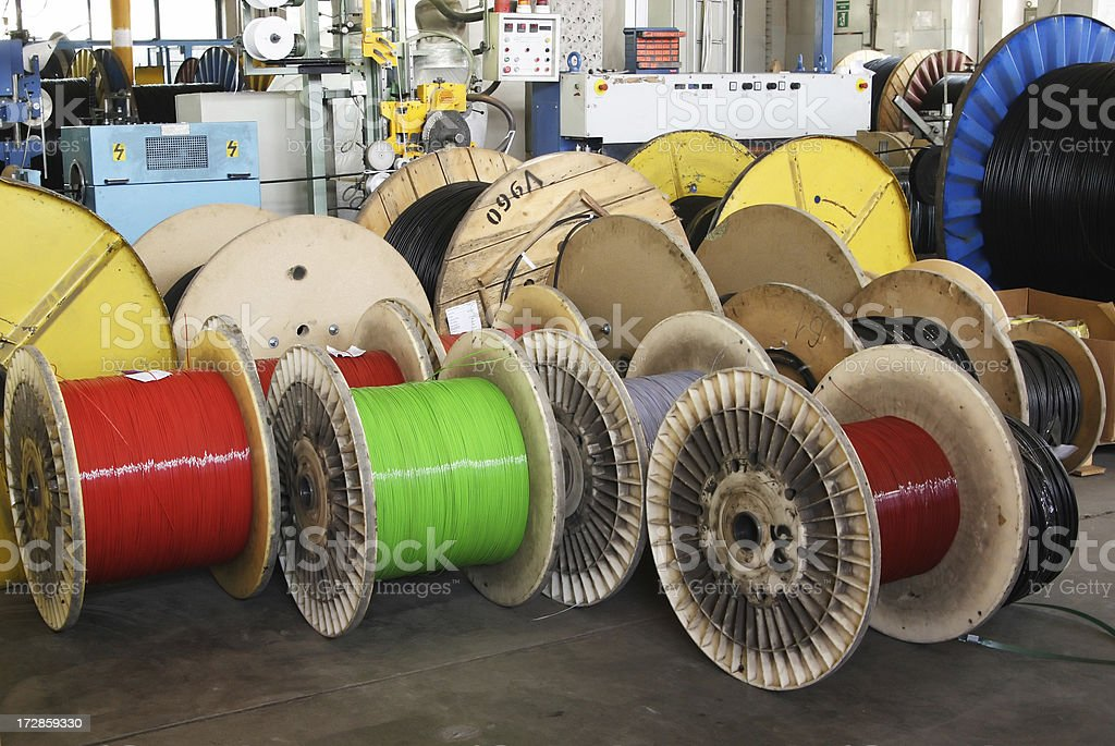 big spool of optic wire on a factory royalty-free stock photo