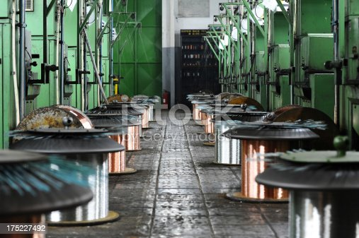 istock Big spools steel wire 175227492