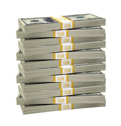Big stack of dollar on isolated white background