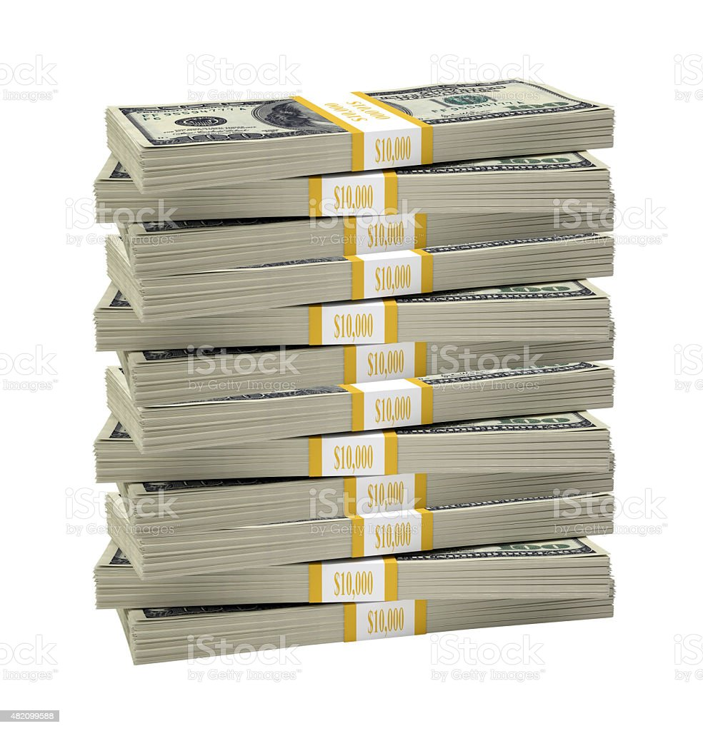 Big stack of dollar stock photo