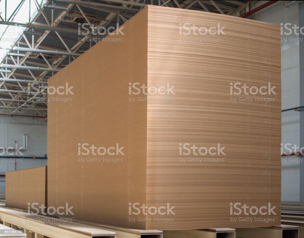 Big stack of MDF boards. Medium Density Fibreboard stock photo
